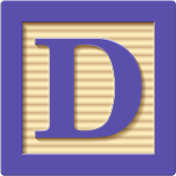 children's block with a letter D